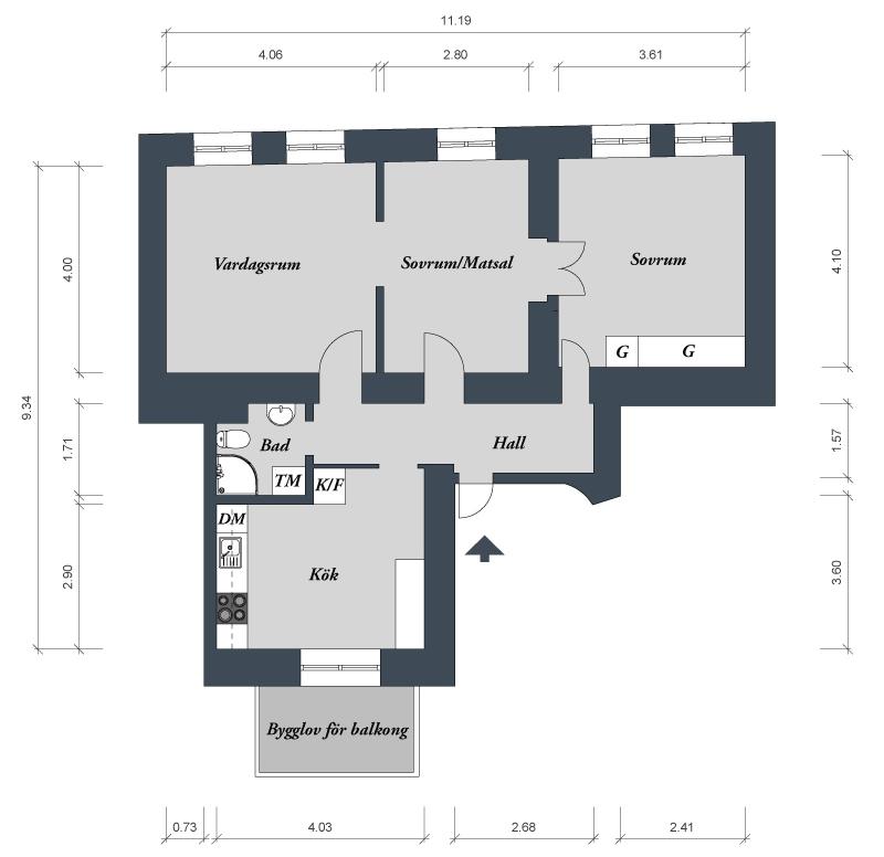 3-кмн. квартира в Швеции. План квартиры