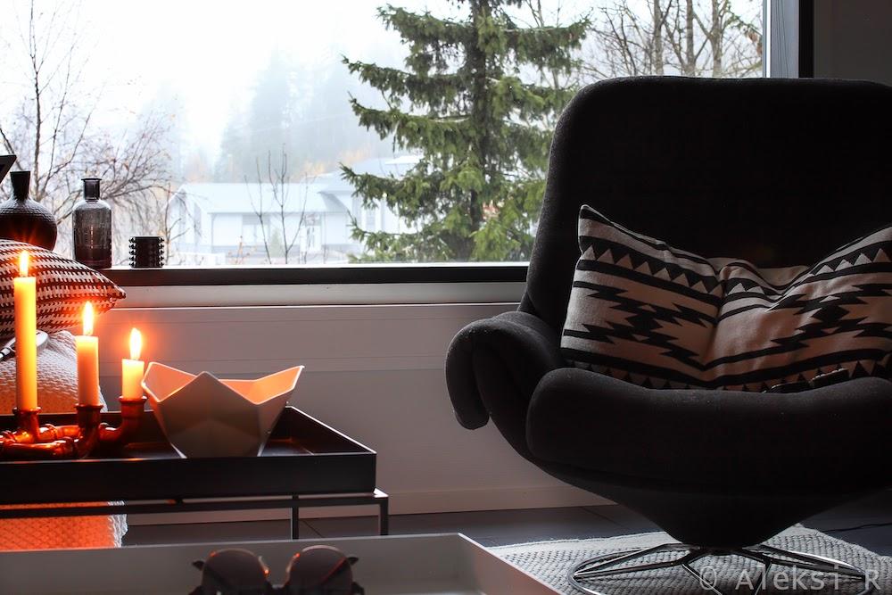 Студия в Финляндии. Aleksi scandinavian style. Гостиная, рабочее место